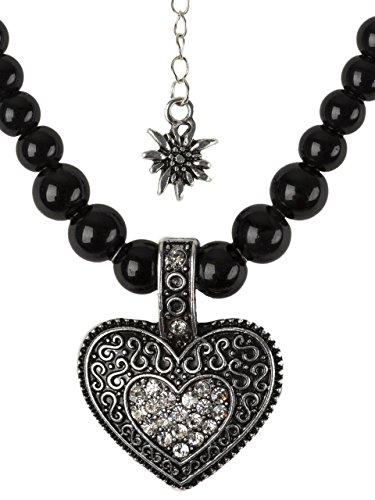 elegante Perlenkette mit großem Herz und kleinen Edelweiss Anhänger Strasssteine schwarz oder weiss Trachtenkette für Dirndl und Lederhose (Schwarz)