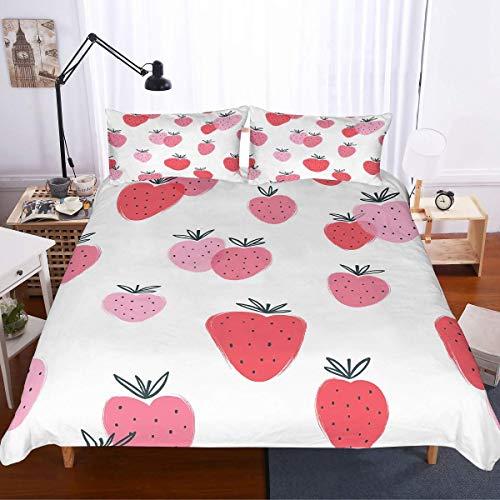 SUNTIG Cartoon Berry Theme Bettwäsche Set Sommer 3D Schwarz Rot Rosa Erdbeeren Gedruckt Mädchen Weiß Bettbezug Set für Kinder 3 Stück mit 2 Kissen Sham No Tröster Mikrofaser -