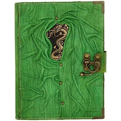 Dragón chino verde recargable Diario de cuero / cuaderno / libreta / del diario / / / Libros / Papel hecho a mano persa Sketchbook