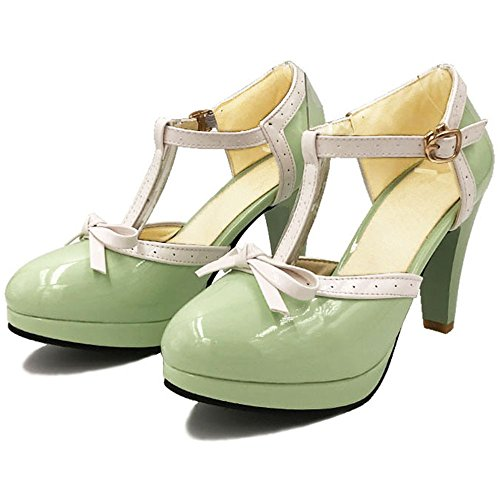 TAOFFEN Femme Elegant Bride T Bout Ferme Sandales Talon Aiguille Escarpins Ete Avec Bow green