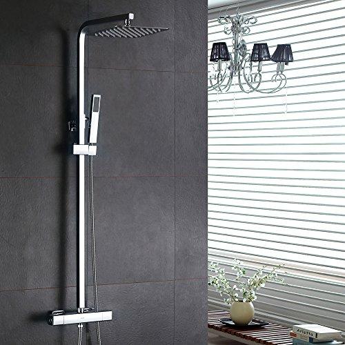 Homelody – Thermostat-Duschsystem mit Brausegarnitur, Regenbrause, eckig, Chrom - 2