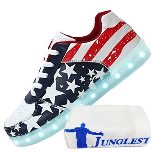 (Présents:petite serviette)JUNGLEST - 7 Couleur Mode Unisexe Homme Femme USB Charge Lumière Lumineux Chaussures de marche LED Ch Bleu 1