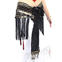 ZLTdream Women's Belly Dance Tribal Hip Scarf with Fringe Coins Flannel Black, One Size