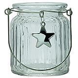 Annastore 6 x Windlichter Lillesol aus Glas mit Stern und Henkel, geriffelt, H 9 cm