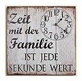 G.H. Grosse Wanduhr und Vintage Retro Blechschild in Kombination, Material Metall, Maße 31 x 31 cm, Spruch: Zeit mit der Familie IST Jede SEKUNDE Wert