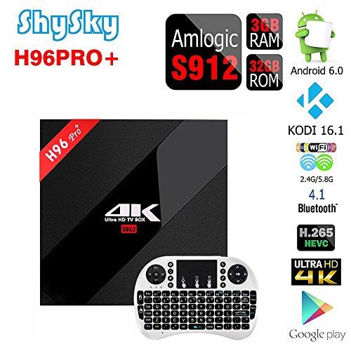 H96 PRO+ Android 6.0 3GB/32GB TV Box, ShySky Amlogic S912 64bit Octa Core 4K Kodi 16.1 Preinstalled Full Loaded Double WiFi 2.4G/5.8G Bluetooth 4.1 1000M Ethernet Streaming Media Player (H96 PRO+ 3GB/32GB + I8 Tastiera senza fili Bianco)