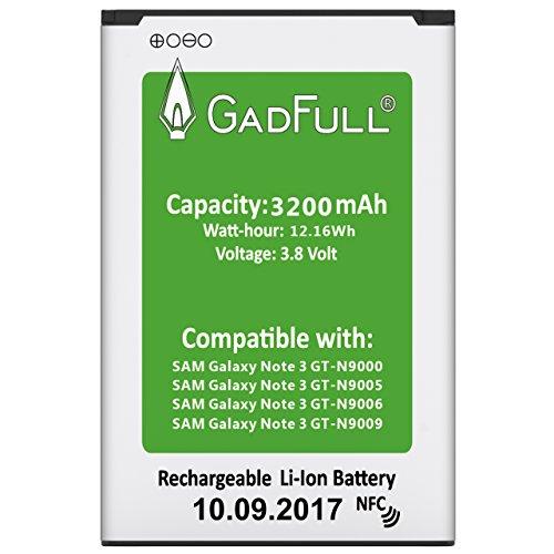 GadFull® Batterie pour Samsung Galaxy Note 3 | Date de Production est 2017 | correspond à l' EB-B800BE Lithium-Ionen-batterie d'origine du modèle GT-N9000 | GT-N9005 | GT-N9006 | GT-N9009