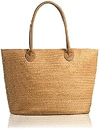GSPStyle Damen Stroh Schultertasche Tragbar Strandtaschen Mit Henkeln