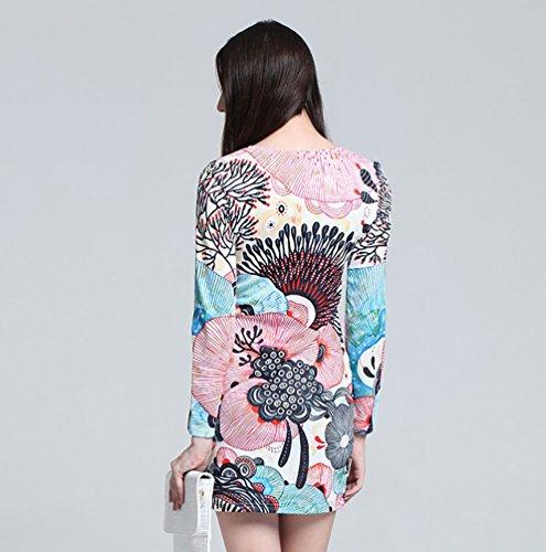 Baymate Damen Sexy Bodycon Kleid Langarm Blumendruck Minikleid Rundhals Wie Das Bild