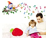 Pájaro Feliz Tocando Notas Musicales de Dibujos Animados Pegatinas de Pared Calcomanías de Pared Extraíbles de Vinilo DIY para Cuarto de la Guardería, Dormitorio de Los Niños, Mural de la Sala de Juegos para Niños