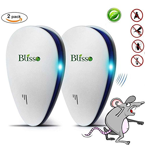 Blisso Ultrasonic Pest Repeller, 2018 New BEST Pest Control Repellent - Electronic Plug In Repellent for Insects, Roaches , Flies, Ants, Spiders, Mice, Bugs and more,Portable, Eco-friendly(2 packs)