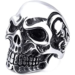 MunkiMix Acero inoxidable tono de plata negro cráneo hueso hombre