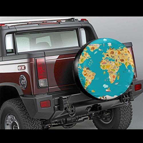 Wietops Mappa degli Animali Kid World Poster vettoriale Divertente Copertura dei Pneumatici Protezione della Ruota dei Colori Copertura dei Pneumatici Impermeabile UV Sole 14'- 17' Misura per Jeep,