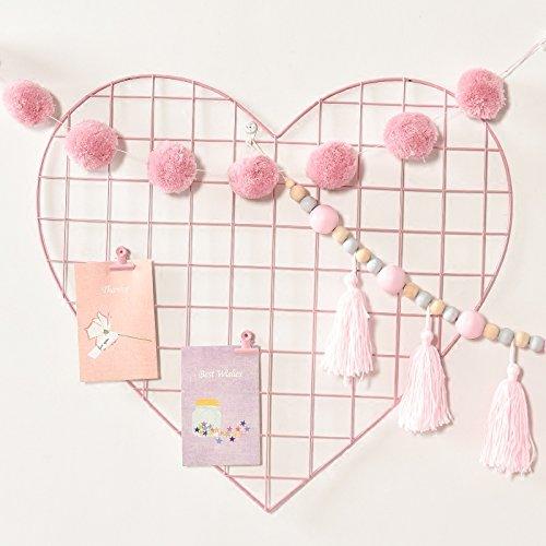 (ShouYu DIY Grid Panel Foto Wand,Ins Mesh Wand,Multifunktion Gitterwand Deko,Memo Brett Organisator Regale,Liebe,57*52cm,Rosa)