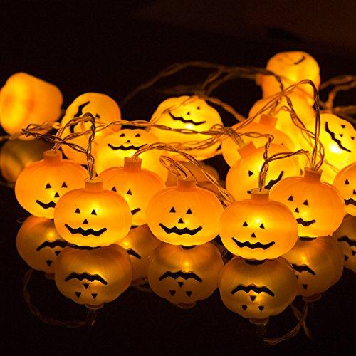techgomade 20LED Halloween Kürbis Lichter, warm, weiß LED Deko Lichter, 5m, 1,5W, zwei Modi, Akku Power, Lichter Girlande für Festival, Party, Halloween, Weihnachten Dekoration