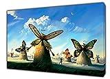 Don, Windmühlen von Salvador Dali Holz-Gerahmter Kunstdruck mit arthome als Dekoration zum Aufhängen, 24 x 16 inch -18mm depth