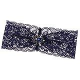 Prettyia Schön Spitze Braut Strumpfband Set Garter Strumpfband Für Hochzeit - Dunkelblau 2, 17,5 x 7 cm
