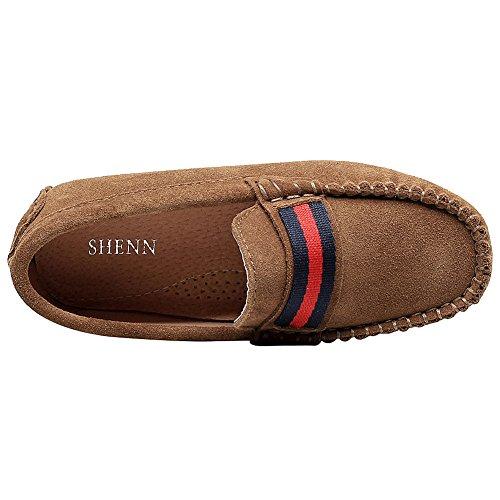 Shenn Filles Joli Glisser sur Suède Cuir Mocassins Chaussures Marron
