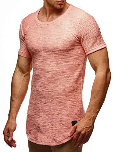 LEIF NELSON Herren Sommer T-Shirt Rundhals-Ausschnitt Slim Fit Baumwolle-Anteil   Moderner Männer T-Shirt Crew Neck Hoodie-Sweatshirt Kurzarm lang   LN6324 Lachsrosa M