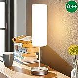 Lampenwelt Tischlampe 'Vinsta' (Modern) in Weiß aus Glas u.a. für Schlafzimmer (1 flammig, E27, A++) - Fensterbank, Festerbanklampe, Lampe & Leuchte fürs Fenster, Schlafzimmerleuchte