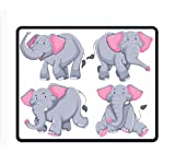 Palette Rog dolce carino divertente mouse pad Funny Awesome personalizzato, rettangolare, Four elephants in diferent poses2, Misura unica