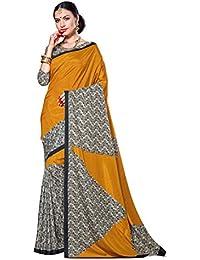 Samskruti Sarees Beautiful Golden Designer Printed Crepe Saree