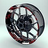 Felgenrandaufkleber Motorrad 4er Komplett-Set (17 Zoll) - Felgebettaufkleber Camouflage Redwood (schwarz-weiß-rot) (Design 4 - matt)