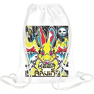Keep Raving Rabbit Drawstring bag