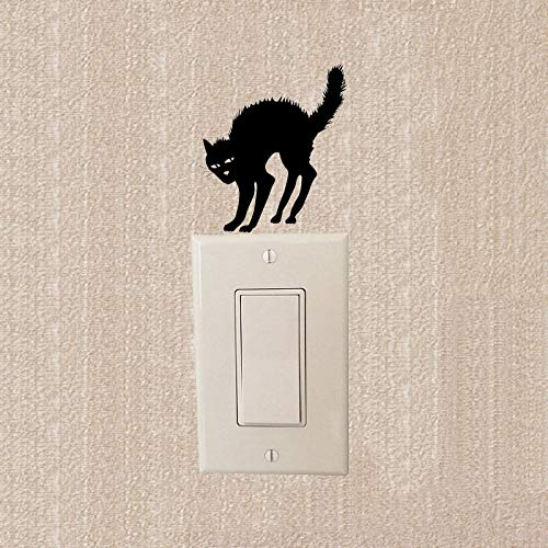 er Aufkleber Schalter Beängstigend Katze Halloween Lustige Schalter Aufkleber Vinyl Interessante Persönlichkeit Wandaufkleber ()