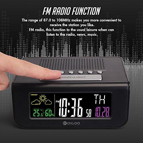 Digoo DG-FR100 Reloj despertador digital inalámbrico SmartSet Pronóstico del tiempo Dormir con radio FM Reloj scoutBAR