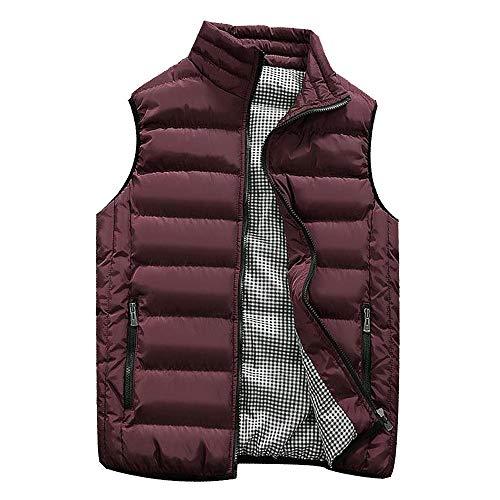 KEERADS Homme Veste Gilet Casual Chaud Doudoune Vest sans Manche Manteau Blouson Zipper Automne Hiver(FR-52/L,Vin Rouge)