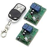 Owfeel RF 12V relé twotransmitters 2x 2canales de control remoto inalámbrico inteligente Transmisor Interruptor, color blanco y negro