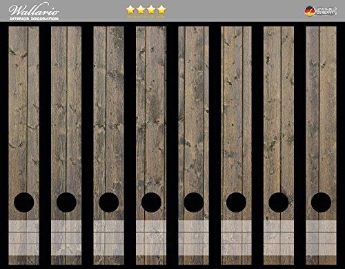 Wallario Ordnerrücken Sticker Holzpaneelen in grau braun - Holzmuster mit Maserung in Premiumqualität - Größe 8 x 3,5 x 30 cm, passend für 8 schmale Ordnerrücken