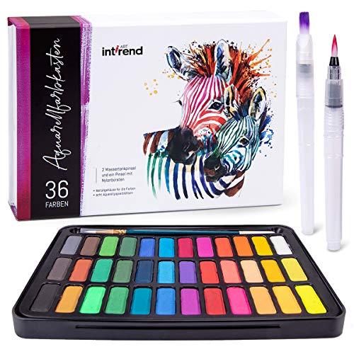 int!rend Aquarellfarbkasten, hochwertiges Aquarell-Farben-Set bestehend aus 36 Wasserfarben, 1 Pinsel, 2 Wassertankpinsel, 8 Aquarellpapier - Malkasten für Anfänger und Profis