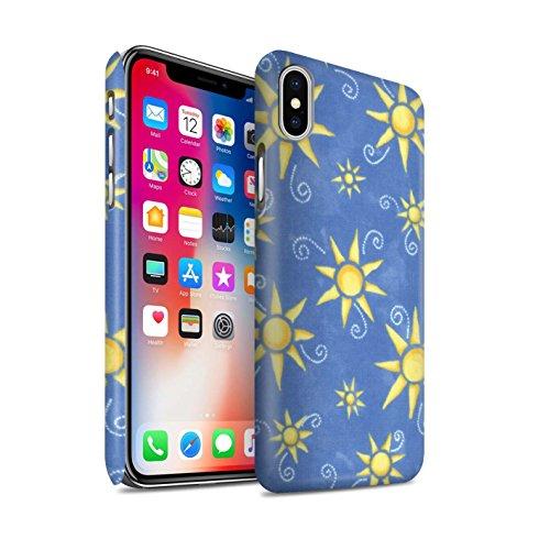 STUFF4 Matte Snap-On Hülle / Case für Apple iPhone X/10 / Schwarz/Weiß Muster / Sonnenschein Muster Kollektion Blau/Gelb