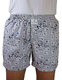 SKOR NX Men Premium Cotton Printed Grey Print Boxer Shorts With 1 Back Pocket, Concealed Button Double-fly. Size...