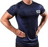 Satire Gym Fitness T-Shirt Herren - Funktionelle Sport Bekleidung - Geeignet Für Workout, Training - Slim Fit (M, Navy Blue meliert)