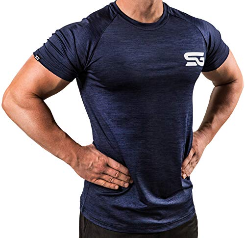 Satire Gym Fitness T-Shirt Herren - Funktionelle Sport Bekleidung - Geeignet Für Workout, Training - Slim Fit (M, Navy Blue meliert)