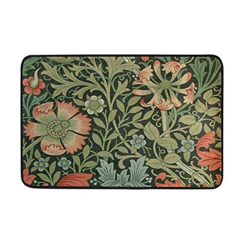jstel William Morris Prints-Fußmatte waschbar Garten Büro Fußmatte, Küche ESS-Living Badezimmer Pet Eintrag Teppiche mit Rutschfeste Unterseite