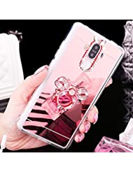 Coque Huawei Nova, Huawei Nova Coque Brillante, SainCat Ultra Slim TPU Silicone Case Cover pour Huawei Nova, Coque Sparkles Bling Glitter Diamante Strass Miroir Anti-Scratch Soft Gel 3D Silicone Transparent Silicone Case Anti Choc Shell Cover con Brillante, Ultra Mince Ultra Thin Shockproof Coque Ultra Thin Cristal Clair Bumper Cas Skin Étui Case Coque Anti Choc Housse Bumper Cover pour Huawei Nova-Or Rose