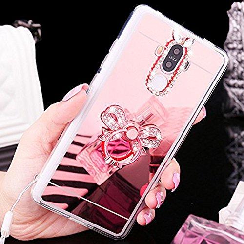 Custodia Cover per Huawei Honor V8, Ukayfe Cover Specchio Lusso Placcatura Lucido di Cristallo di Scintillio Strass Diamante Glitter Caso per iPhone 7 Plus[Crystal TPU] [Shock-Absorption] Protettiva U Arco di Diamante Oro rosa 3#