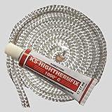 Dichtschnur Dichtkordel weiss für Kaminöfen 14mm 2,0 Meter + 1x Kleber weiss
