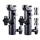 Camera Flash Speedlite Mount Light Stand Bracket Umbrella Holder Flash Shoe Mount for Canon Nikon Pentax Olympus Nissin Metz and other Speedlite Flashes E Type-2 Pack