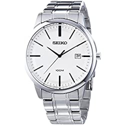 SGEH07P1 Seiko Men's Watch Analogue Quartz Black Dial Steel Strap Grey-Beige
