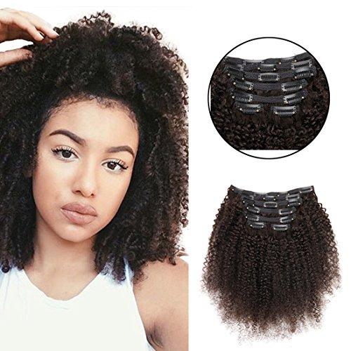 viviabella 100 Cheveux Humains Double trame d'épaisseur/Extensions cheveux bouclés à clip Noir naturel 70 g-160g 30,5 cm -28 \\