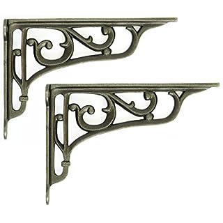 Pair of Cast Iron Edwardian Scroll Shelf Brackets (9
