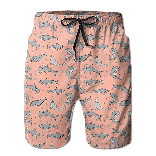 magic ship Sharks Coral Custom Shark Men's Beach Shorts with Pockets Quick Dry Summer Shorts Swim Trunks XXL