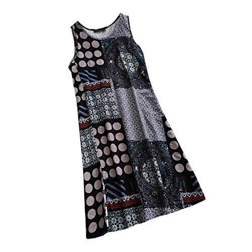 Preisvergleich Produktbild Yvelands Damen T-Shirt Weste Print Kausal ärmelloses Maxikleid Sling Sommerkleid Tank Tops(Marine, CN-L)