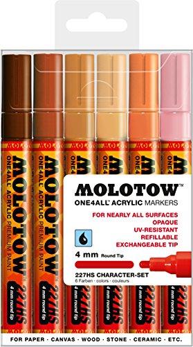 Molotow One4All 227HS Acrylstifte (Character-Set, 4 mm Spitze, hochdeckend und permanent, UV-beständig, für fast alle Untergründe) 6 Stück sortiert