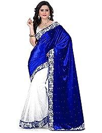 Roshni Fashions Velvet Saree (Blue Velvet_Blue)